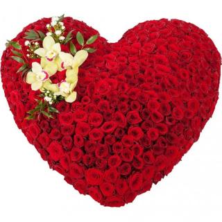 101 роза в виде сердца