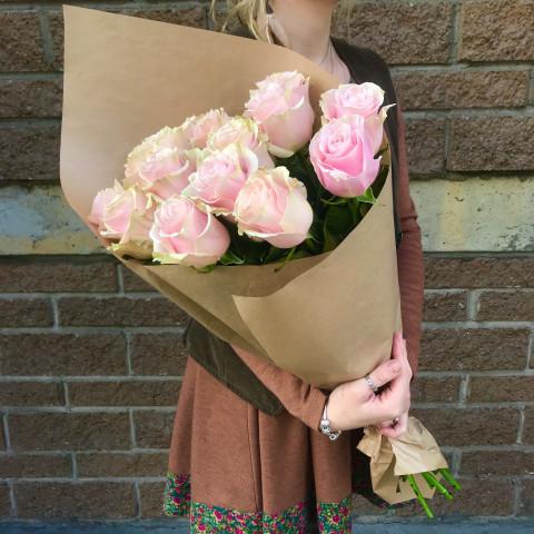 15 розовых роз 70 см (Эквадор)
