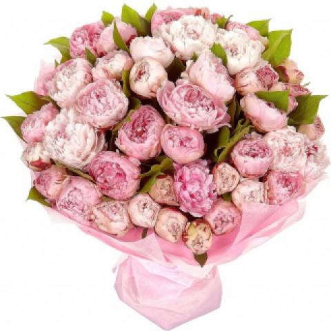 Букет из 35 розовых пионов