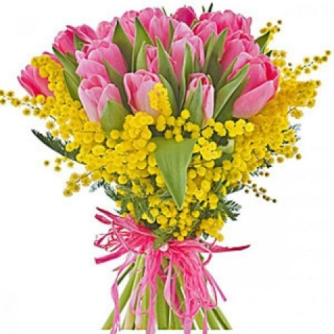 Букет из 15 тюльпанов с мимозой