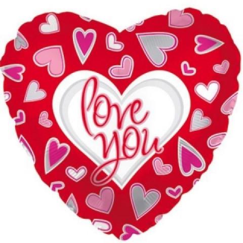 Шар фольгированный сердце I love you