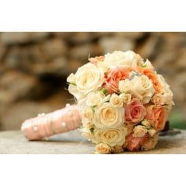 Свадебный букет с кустовой розой